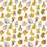 Modèle sans couture de l'alphabet de zoo de l'enfant drôle d'animaux Tiré par la main dedans illustration stock