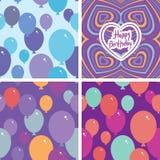 Modèle sans couture de l'ensemble 3 avec les ballons et la carte de joyeux anniversaire Fond pourpre, rose, bleu, orange Vecteur Photographie stock