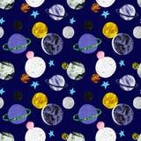 Modèle sans couture de l'espace peint à la main avec des étoiles et des planètes sur le fond bleu-foncé Copie de cosmos avec des  illustration de vecteur
