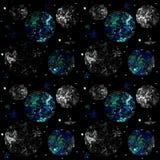 Modèle sans couture de l'espace sur le fond noir avec des étoiles, des planètes et la lune illustration libre de droits