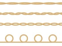 Modèle sans couture de la corde nautique réaliste d'isolement sur le blanc Texture pour la copie ou les produits textiles, papier illustration de vecteur