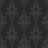 Modèle sans couture de la damassé 3d florale noire Photos stock