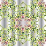 Modèle sans couture de la damassé 3d florale de vintage illustration de vecteur