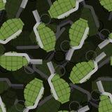 Modèle sans couture de la grenade à main 3D Bombe, fond explosif Photos libres de droits