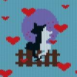 Modèle sans couture de laine tricoté pour le jour du ` s de Valentine avec des chats Photographie stock libre de droits