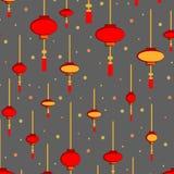 Modèle sans couture de lampes-torches chinoises - lumières rouges et blanches tirées par la main sur le fond d'or Modèle de vecte illustration libre de droits