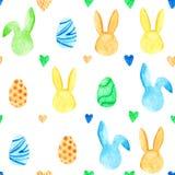 Modèle sans couture de lapin d'aquarelle Vacances de Pâques Pour la conception, la carte, la copie ou le fond Image stock