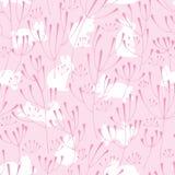 Modèle sans couture de lapin de rose d'usine de goutte illustration stock