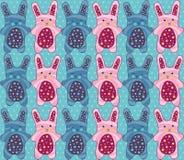 Modèle sans couture de lapins de Pâques illustration de vecteur