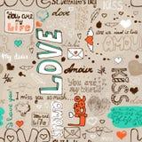 Modèle sans couture de lettre d'amour Photographie stock libre de droits
