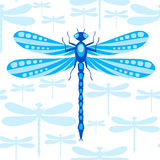 Modèle sans couture de libellule Photographie stock