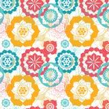 Modèle sans couture de lotus sacré floral de la géométrie Photographie stock libre de droits