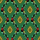 Modèle sans couture de méandre principal grec floral coloré illustration stock