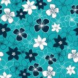 Modèle sans couture de mélange de fleur bleu-foncé et blanche illustration stock