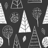 Modèle sans couture de main dessiné par sketh simple de forêt avec l'arbre, feuillage, conifére, impeccable, sapin Pour des papie Images libres de droits