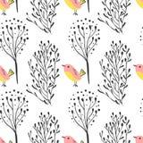 Modèle sans couture de main dessiné par sketh simple de forêt avec les oiseaux et la forêt Pour des papiers peints, fond de Web,  Photo libre de droits