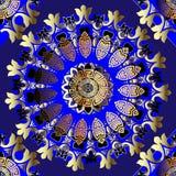 Modèle sans couture de mandalas de cru grec fleuri Fond géométrique de luxe ornemental bleu Contexte floral de répétition antique illustration libre de droits