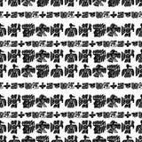 Modèle sans couture de Maya de vecteur Éléments ethniques noirs et blancs Le tribal gribouille l'ornement Oiseaux antiques abstra Images stock