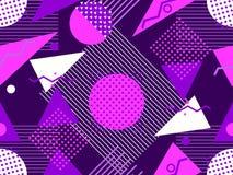 Modèle sans couture de Memphis Éléments géométriques Memphis dans le style 80 du ` s Bauhaus rétro Vecteur Image libre de droits