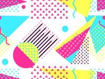 Modèle sans couture de Memphis Éléments géométriques Memphis dans le style 80 du ` s Bauhaus rétro Vecteur Images stock