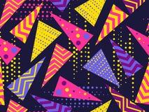 Modèle sans couture de Memphis Éléments géométriques Memphis dans le style 80 du ` s Vecteur Images stock