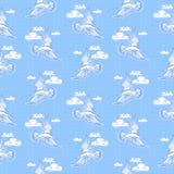 Modèle sans couture de mer d'été Illustration de mouette d'oiseau, ciel a Photo libre de droits