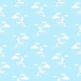 Modèle sans couture de mer d'été Illustration de mouette d'oiseau, ciel a Images libres de droits
