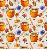 Modèle sans couture de miel d'aquarelle illustration stock
