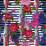 Modèle sans couture de mode unique avec le barracuda et les roses de poissons dans le style au néon Illustration de vecteur Images stock