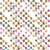 Modèle sans couture de molécules multicolores plates Photographie stock libre de droits