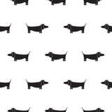Modèle sans couture de monochrome de vecteur de silhouette de chien de teckel Photos libres de droits