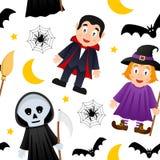 Modèle sans couture de monstres de Halloween [1] Photo stock