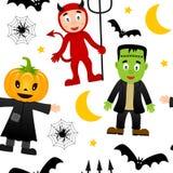 Modèle sans couture de monstres de Halloween [2] Images stock