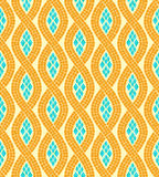 Modèle sans couture de mosaïque jaune et bleue de vague, vecteur Images libres de droits