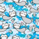Modèle sans couture de mouche de zen de chat Photographie stock libre de droits