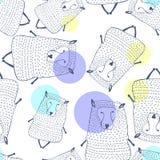 Modèle sans couture de moutons Fond animal Illustration de vecteur Image stock