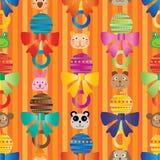 Modèle sans couture de mur de décor de tête de bande dessinée de hochet de bébé Image libre de droits