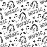 Modèle sans couture de musique avec les écouteurs tirés par la main et la musique de lettrage de griffonnage Illustration de vect Photos stock