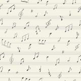Modèle sans couture de musique avec les notes musicales manuscrites Images stock