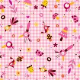 Modèle sans couture de nature de caractères de fleurs, d'oiseaux et de champignons Photographie stock libre de droits