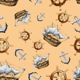Modèle sans couture de navigation de mer de croquis Photo stock