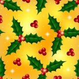 Modèle sans couture de Noël avec des baies de houx Images stock