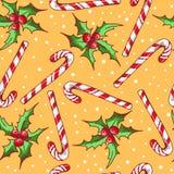 Modèle sans couture de Noël avec des baies de sucrerie et de houx Image libre de droits