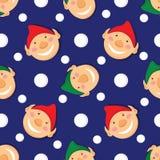 Modèle sans couture de Noël avec des elfes et des flocons de neige Photo stock