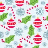Modèle sans couture de Noël avec des globes de Noël, cannes de sucrerie illustration stock