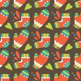 Modèle sans couture de Noël avec des mitaines et des chaussettes Image libre de droits