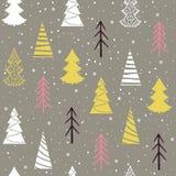 Modèle sans couture de Noël avec des sapins, des flocons de neige et la neige Photo stock