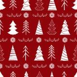 Modèle sans couture de Noël avec des sapins, flocons de neige, guirlandes Images stock