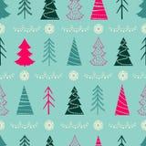 Modèle sans couture de Noël avec des sapins, flocons de neige, guirlandes Photo stock