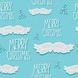 Modèle sans couture de Noël avec l'arbre et la moustache Photographie stock libre de droits